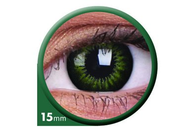 ColorVue Big Eyes - Party Green (2 St. 3-Monatslinsen) – ohne Stärke