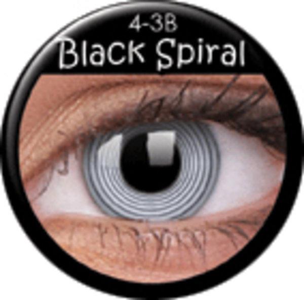 ColorVue Crazy Kontaktlinsen - Black Spiral (2 ks ročné) - nedioptrické