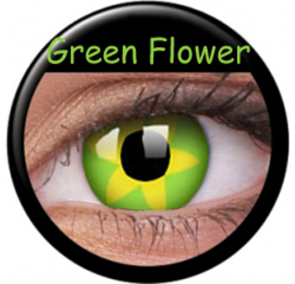 ColorVue Crazy Kontaktlinsen - Green Flower (2 St. Jahreslinsen) – ohne Stärke