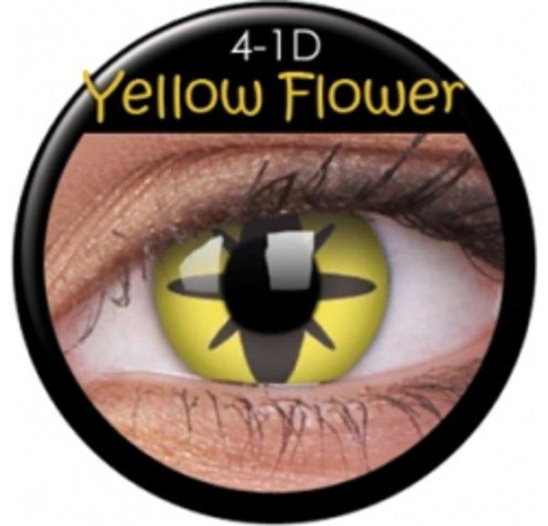 ColourVue Crazy Kontaktlinsen - Yellow Flower (2 St. Jahreslinsen) – ohne Stärke