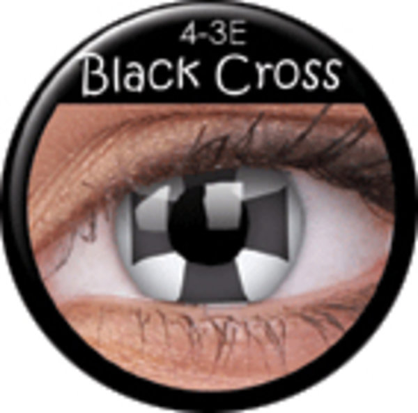 ColorVue Crazy-Kontaktlinsen - Black cross (2 St. 3-Monatslinsen) – ohne Stärke