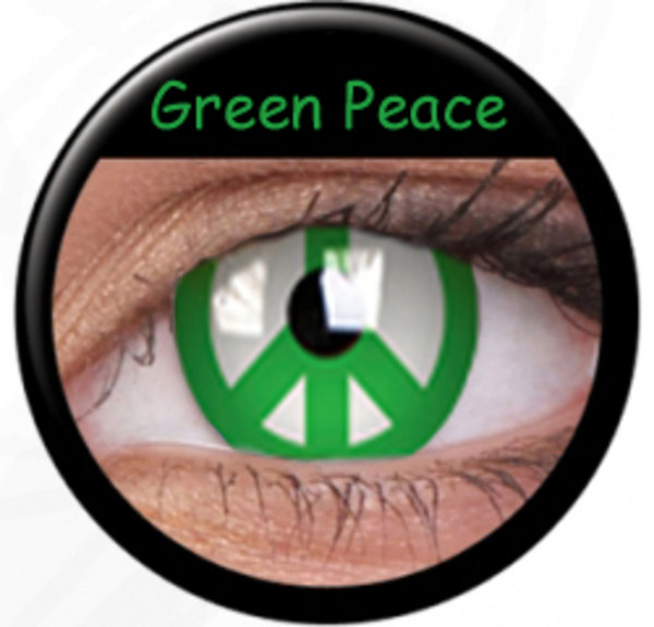 ColorVue Crazy-Kontaktlinsen - Green Peace (2 St. 3-Monatslinsen) – ohne Stärke