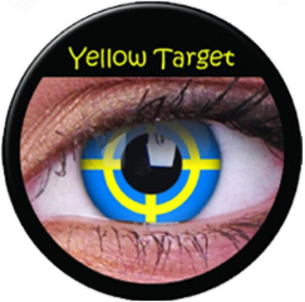 ColorVue Crazy-Kontaktlinsen - Yellow Target (2 St. 3-Monatslinsen) – ohne Stärke