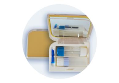 Etui für harte Kontaktlinsen - Set - Gelb (Gold)