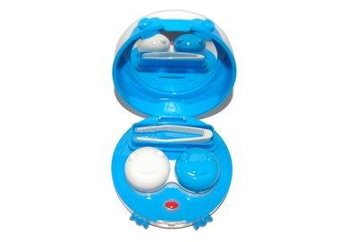 Etui für Kontaktlinsen - vibrierend, rund mit Füßchen - Blau