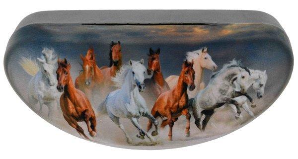 Metall Brillenetui groß – Pferde