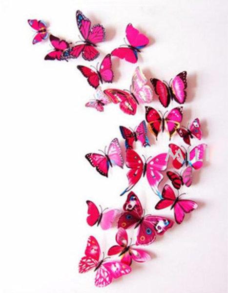 Schmetterlinge in Wandsticker 3 Stk. – Farbe rosa
