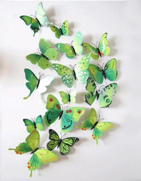 Schmetterlinge in Wandsticker 3 Stk. – Farbe grün