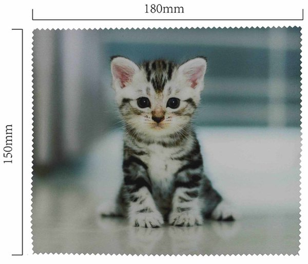 Mikrofaser Brillenputztuch – Sitzendes Kätzchen