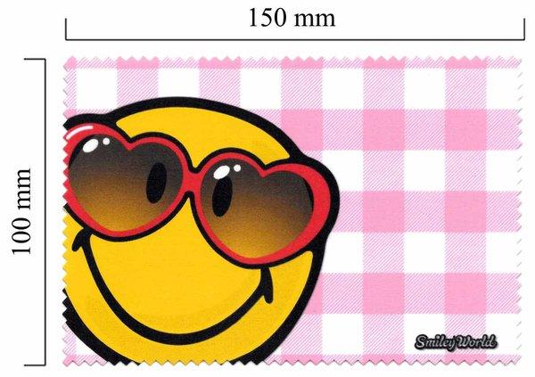 Mikrofaser Brillenputztuch Smiley  – rote Brille