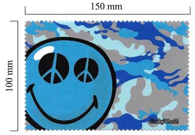 Mikrofaser Brillenputztuch Smiley  – Blau