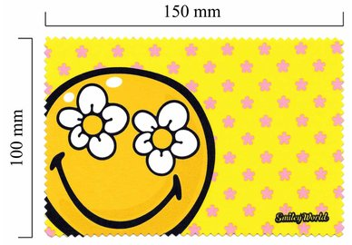 Mikrofaser Brillenputztuch Smiley  – Smiley gelbe Blüte