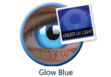 ColorVue Crazy Kontaktlinsen UV leuchtend - Glow Blue (2 St. Jahreslinsen) – ohne Stärke