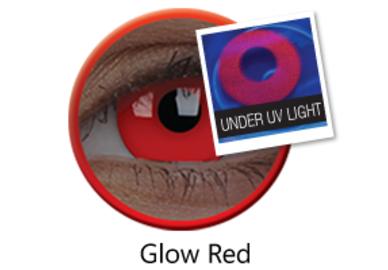 ColorVue Crazy Kontaktlinsen UV leuchtend - Glow Red (2 St. Jahreslinsen) – ohne Stärke