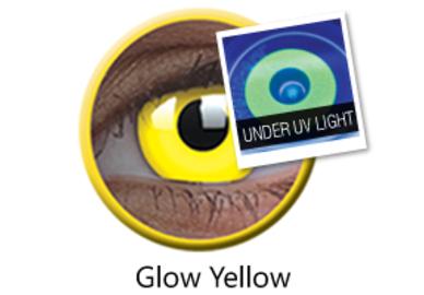 ColorVue Crazy Kontaktlinsen UV leuchtend - Glow Yellow (2 St. Jahreslinsen) – ohne Stärke