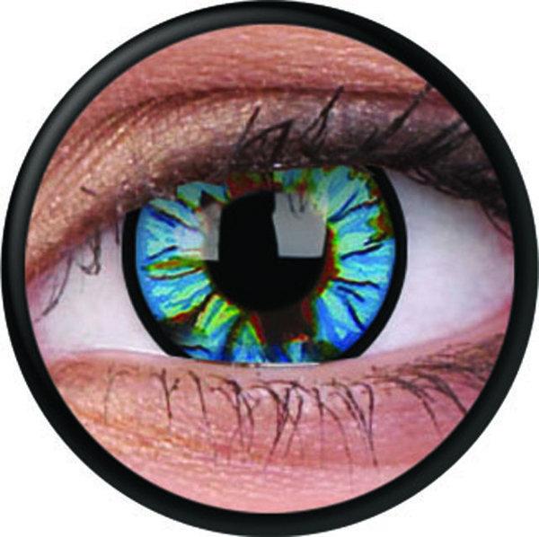 ColorVue Crazy Kontaktlinsen - Blue Streak (2 St. Jahreslinsen) – ohne Stärke