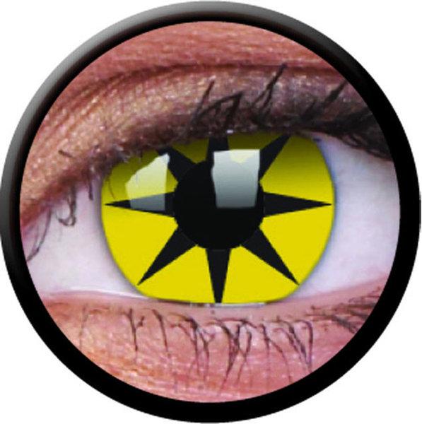 ColourVue Crazy Kontaktlinsen - Yellow Star (2 St. Jahreslinsen) – ohne Stärke
