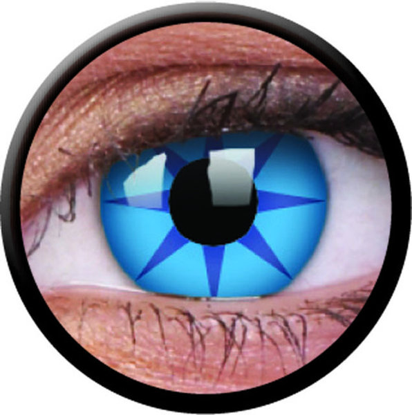 ColorVue Crazy-Kontaktlinsen - Blue star (2 St. 3-Monatslinsen) – ohne Stärke