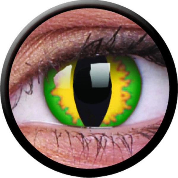 ColorVue Crazy-Kontaktlinsen - Green dragon (2 St. 3-Monatslinsen) – ohne Stärke