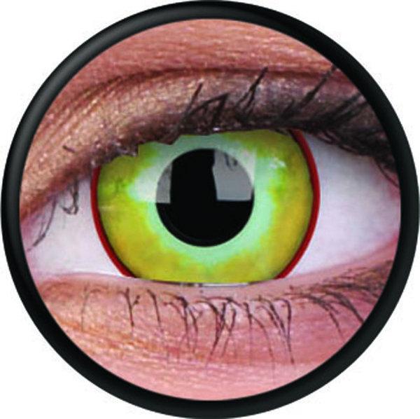 ColorVue Crazy-Kontaktlinsen - Yellow Plague (2 St. 3-Monatslinsen) – ohne Stärke