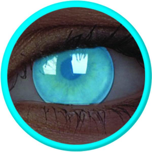 ColorVue Crazy Kontaktlinsen UV leuchtend - Electric Blue (2 St. Jahreslinsen) – ohne Stärke