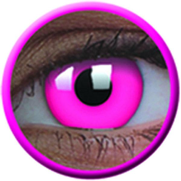 ColorVue Crazy Kontaktlinsen UV leuchtend - Glow Pink (2 St. Jahreslinsen) – ohne Stärke