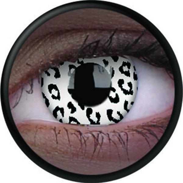 ColorVue Crazy Kontaktlinsen UV leuchtend - Glow White Leopard (2 St. Jahreslinsen) – ohne Stärke